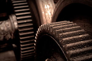 Rusty industrial machine parts